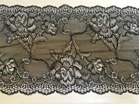 """6.25""""/16cm Stunning Black/Silver Stretch Galloon Lace Trimming. Sewing/Crafts"""