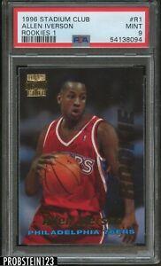 1996 Stadium Club Rookies 1 #R1 Allen Iverson Philadelphia 76ers RC PSA 9 MINT