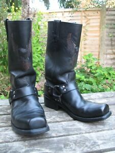 Harley Davidson Biker Boots Size UK 9 USA 9.5 D EU 43 Vtg Black Leather motor