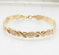 "7"" Hugs & Kisses XOXO Bracelet 10K Yellow Gold Clad Real Sterling Silver 925"