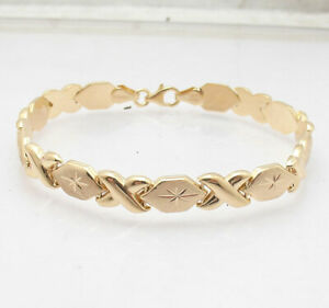 """7"""" Hugs & Kisses XOXO Bracelet 10K Yellow Gold Clad Real Sterling Silver 925"""