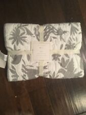 NEW Pottery Barn Kids Baby Embroidered Flora Fauna Piper Crib Toddler Quilt GRAY