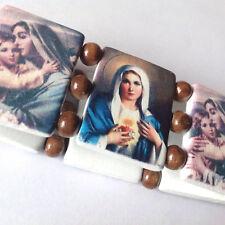Mary & Jesus stretch BRACELETS wood brown beads saint