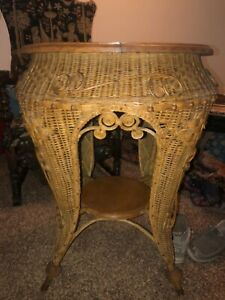 antique Haywood wakefield ? round wicker table