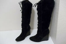 COLIN STUART WOMEN'S SZ 7.5 BLACK LACE UP WEDGE KNEE HIGH BOOTS FAUX SUEDE/FUR