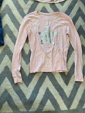 pink long sleeve silver metallic star and writing gap girls size 14 LIGHTLY WORN