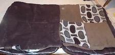 Pair of Brown Tan Abstract Print Decorative Throw Pillows  19 x 19