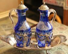 Silver cruet Cobalt crystal cruet French antique cruet Oil vinegar set Condiment