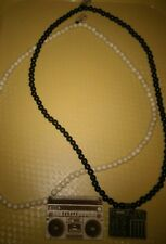 Lot of 2 Good Wood Nyc Necklace Wood Beads jambox stereo, beats rhythm rhymes