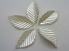 50 Ivory Acrylic Pearl Feather Leaf Leaves Beads Charm 36X19mm Sew On Craft