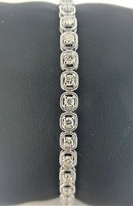 "18Carat White Gold Diamond Tennis Bracelet 4claw 1.50cts 7.0""Inches Hallmarked"
