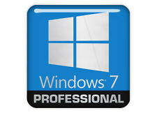 """Windows 7 Professional"" Logo 1""x1"" Chrome Effect Domed Case Sticker"