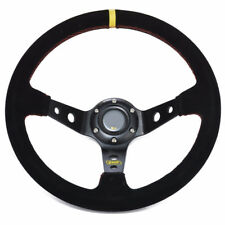 """Universal Black Suede 350mm 13.8"""" Deep Dish Racing Sport Steering Wheel Any Car"""