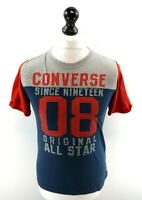 CONVERSE Boys T-Shirt Top 12-13 Years L Large Blue Red Grey Cotton & Polyester