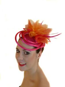 HOT PINK FUSCHIA ORANGE RINGS FEATHERS FASCINATOR  HAT RACES MELBOURNE CUP