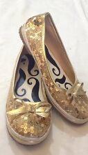 Specchio - ballerine - colore oro - N° 36 - con paillettes - tacco 1 cm - USATE