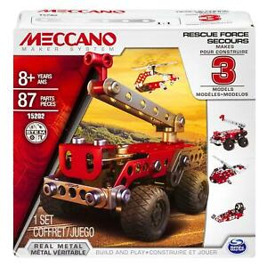 Meccano 6026714 - 3 In 1 Set Fire Engine, Helicopter and Boat Age 8+