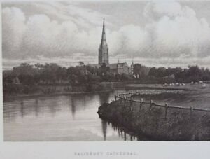 1895 Salisbury Cathedral antique print ideal for framing.