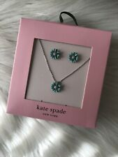 Kate Spade Flower Stud Earrings & Necklace Into The Bloom. Blue Daisy A2