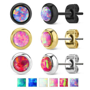 PAIR Bezel Set Opal 316L Surgical Steel Earrings - choose from 18 color combos!