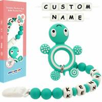 Green Tortoise Baby Teether with Personalised Name Dummy Clip Shower Gift Pack
