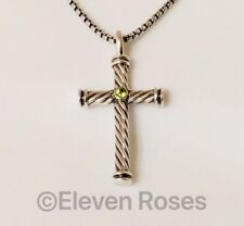 David Yurman Peridot Cable Cross Pendant Necklace 925 Sterling & 750 18k Gold