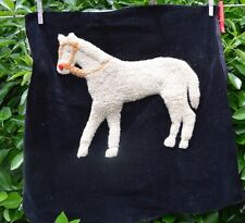 Antique Rapunto Style Horse Needlecraft On Black Velvet