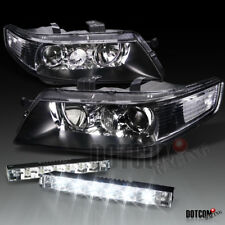 2004-2005 Acura TSX Black Projector Headlights W/ 6-LED Bumper Fog Lamp DRL