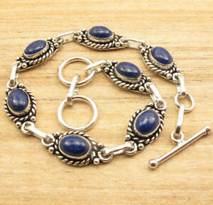 Old Style BRACELET 7.9 Inch !! Real LAPIS LAZULI Gemstone Silver Plated Jewelry