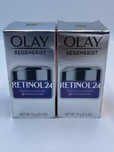 Olay REGENERIST RETINOL 24 NIGHT FACE MOISTURIZER FRAGRANCE FREE 0.5 oz (2 BOX)