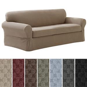 MAYTEX Pixel Ultra Soft Stretch 2 Piece Sofa Furniture Cover Slipcover, Sand