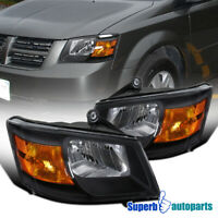For 2008-2010 Grand Caravan Black Headlights Lamps Left+Right Driver+Passenger