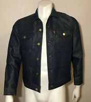 Levi's Denim Jacket Jean Raw Unwashed Blue Metallic Gold Weft Mens Small