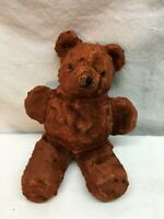 Vintage Stuffed Wind Up Music Box Toy Bear With Glass Eyes Hand Stitched 1930s