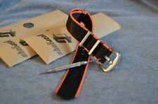 Gear Guys Military Style Watch Strap Seat Belt Black & Orange | 20mm 22mm