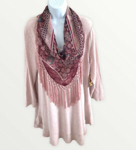 One World Women's Soft Pink Pullover Sweater With Removable Fringe Scarf Size 2X