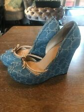 GUCCI Guccisima Denim D'Orsey Wedges Size 37 Uk 4 Gently Used a Few Times Only.