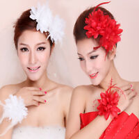 Elegant Women Corsage Flower Fascinator Pin Handmade Hair Clips Feather Hairband