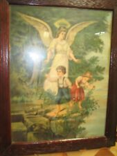 Antique 1911 Framed Guardian Angel Picture with children boy and girl James Lee