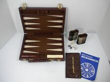 Vintage Backgammon Game Plaid Travel Case & Dice Cups - Complete - Free Shipping