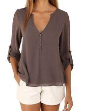 Chiffon long sleeve blouse shirt top button back waist cinching SMALL coffee