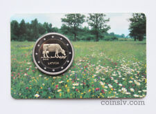 "LETTLAND 2016 offizieller blister 2 Euro ""Kuh"" / Cow BU coincard"