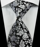 New Classic Florals Black White JACQUARD WOVEN 100% Silk Men's Tie Necktie