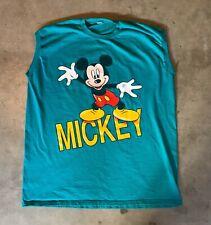Vintage Mickey Mouse Sleeveless Shirt Teal 90s XL Retro Disneyland Disneyworld