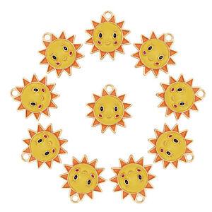 15pcs/lot Enamel 22x20mm Yellow Sun Face Pendant Charms Jewelry DIY Accessories