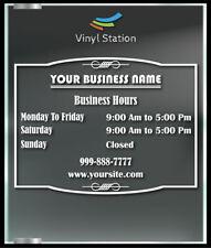 Custom Elegant Business Store Hours Vinyl Window Decal Outdoor Sticker Sign Door