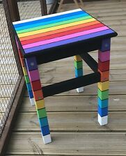 Stool, Table, Rainbow, funky, hand painted, whimsical, Alice in Wonderland