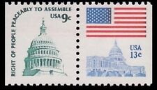 New listing U.S. Mnh attached Pair 9c Capitol Dome and 13c Flag of Capitol #1590 - 1623d l2