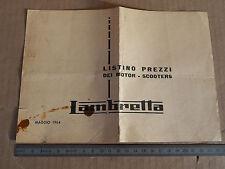 INNOCENTI LAMBRETTA 1964 LISTINO PREZZI ORIGINALE 175 TV 150 LI SPECIAL 100 125