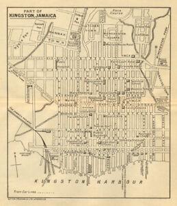 KINGSTON JAMAICA. Vintage town plan. West Indies. Caribbean 1935 old map